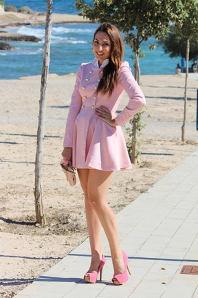 Pink Long Sleeve Double Breasted Flare Hem Wool Coat