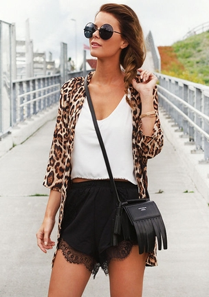 Leopard Long Sleeve Loose Chiffon Blouse