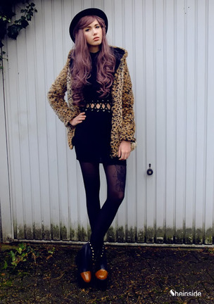 Leopard Print Long Sleeve Coat with Hood