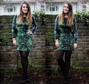 Green Long Sleeve Sequined Bodycon Dress