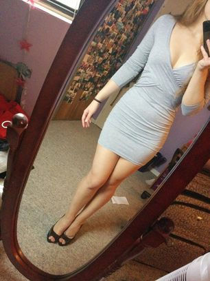 Grey Long Sleeve Cross-over Waist Bodycon Dress