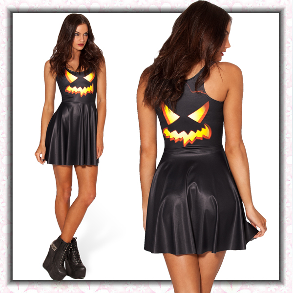 Halloween Pumpkin Lantern Skater Dress