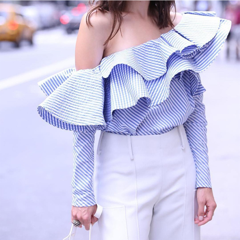 one shoulder ruffles blouse shirt women tops 2017 spring casual blue striped shirt long sleeve cool blouse